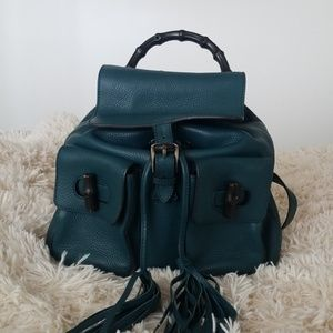 6b59abef2d7278 Gucci · Gucci Bamboo Teal Leather Backpack